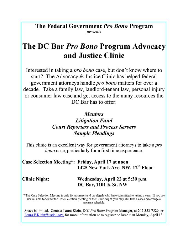 DC BAR PRO BONO PROGRAM ADVOCACY AND JUSTICE CLINIC