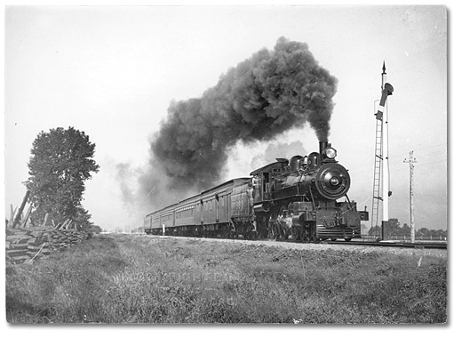 Train Locomotive moving down the tracks