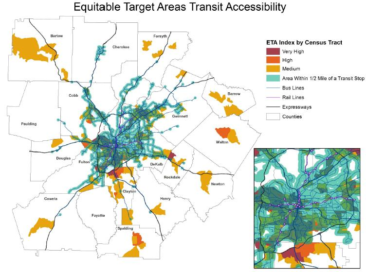 Map showing Equitable Target Areas