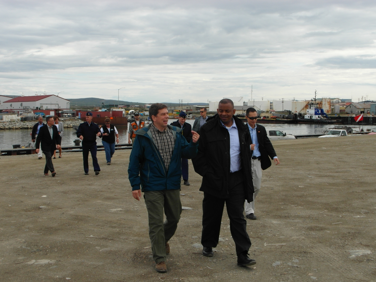 Secretary Foxx walking with Mark Begich