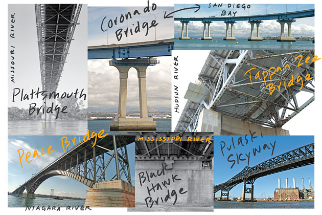 Photo collage of bridges in need of repair, courtesy of Business Week