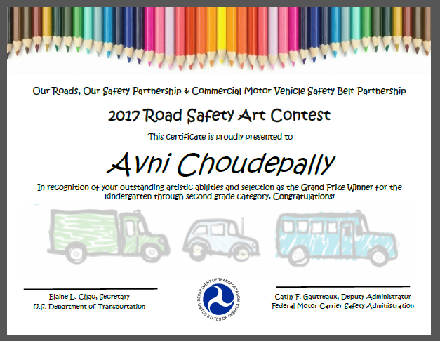 2017 Road Safety Student Art Contest Certificate