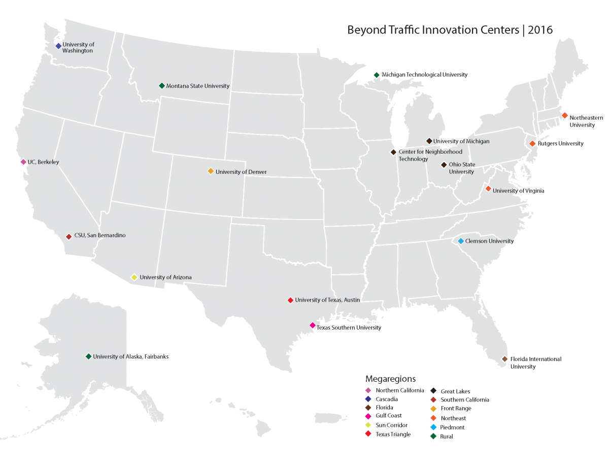 Map of US with Beyond Traffic Innovation Centers | 2016