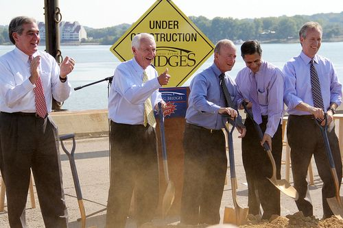 Photo of Governors Beshear and Daniels breaking ground on Ohio River Bridges project