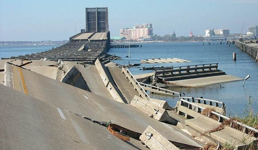 U.S. Highway 90 bridge over Biloxi Bay after Hurricane Katrina in 2005.