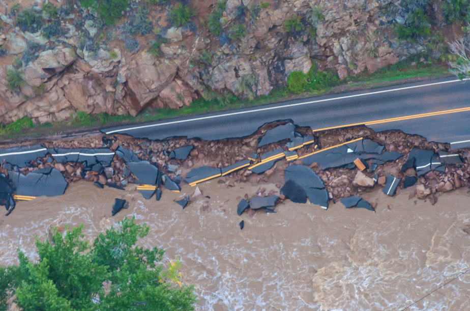 Washed-out road in Colorado during Flooding in 2013.