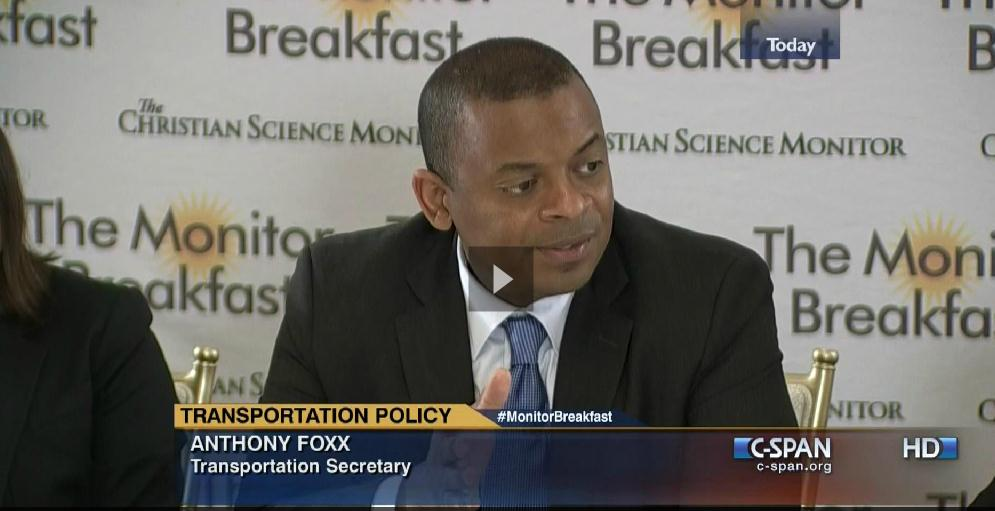 Screen capture from the video of Secretary Foxx at the Christian Science Monitor breakfast