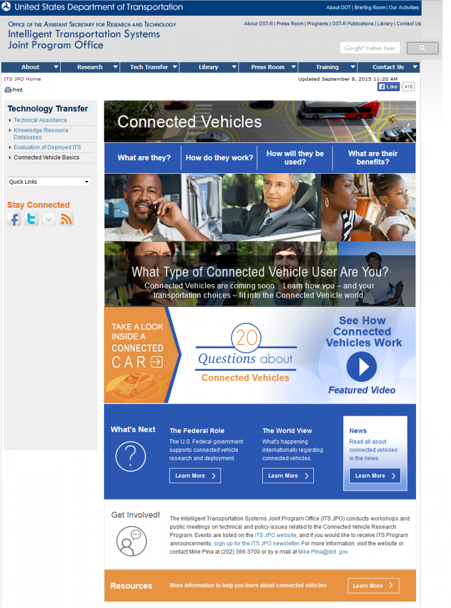 Screen capture of the Connected Vehicles Basics website