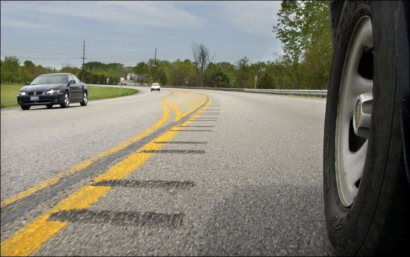 Photo of center-line rumble strips