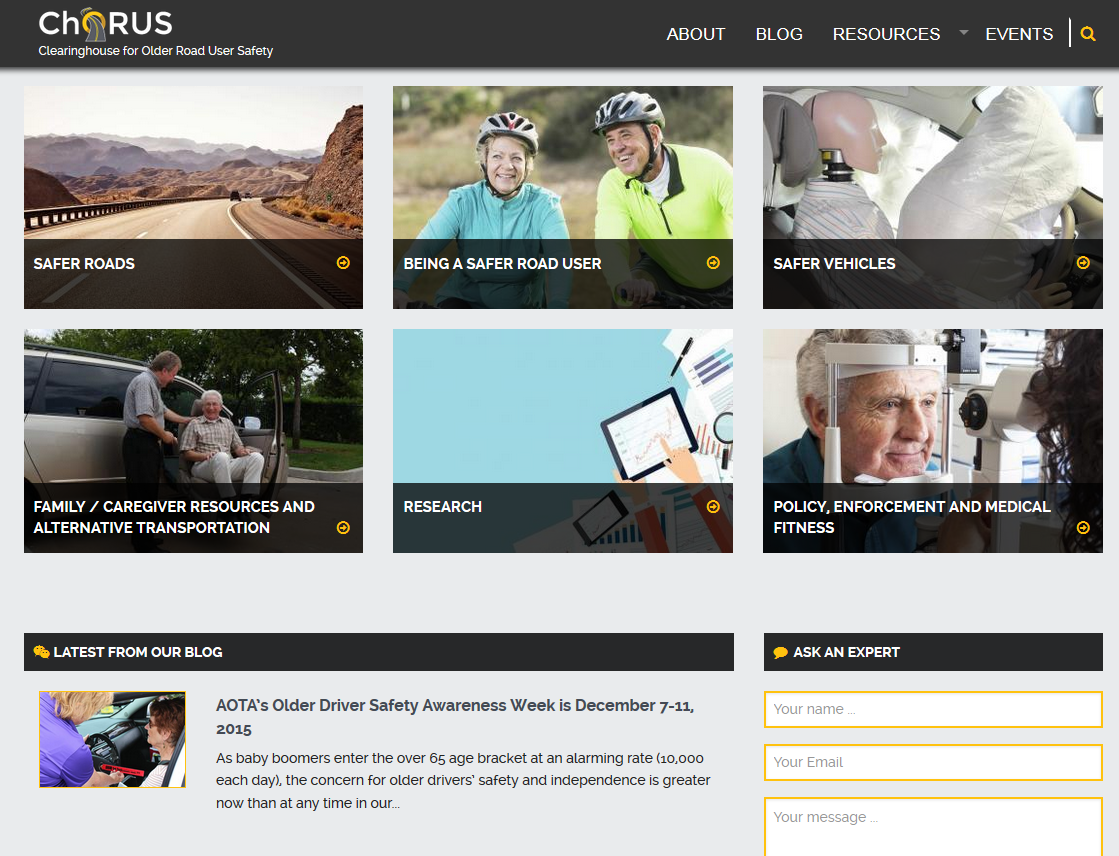 Screenshot of Clearinghouse for Older Road User Safety website www.roadsafeseniors.org