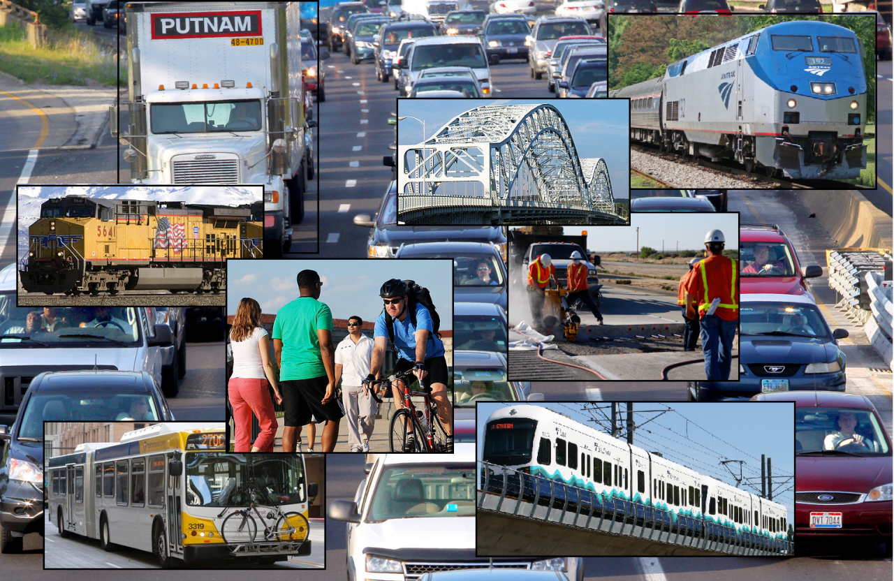 Photo collage of transportation modes