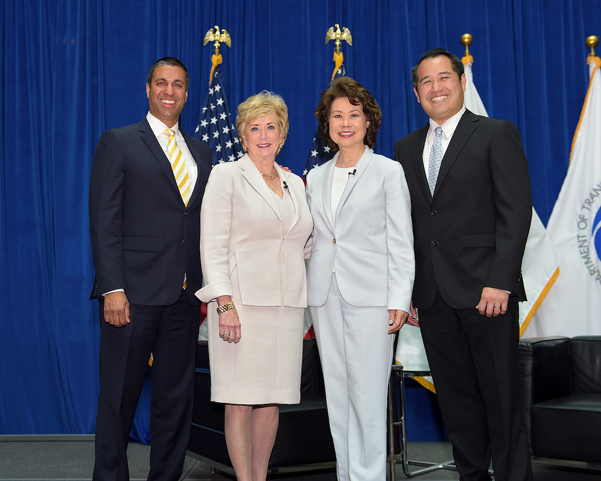 Ajit Pai Linda McMahon Secreatary Chao Derek Kan group photo