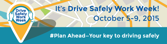 Web banner announcing Drive Safely Work Week