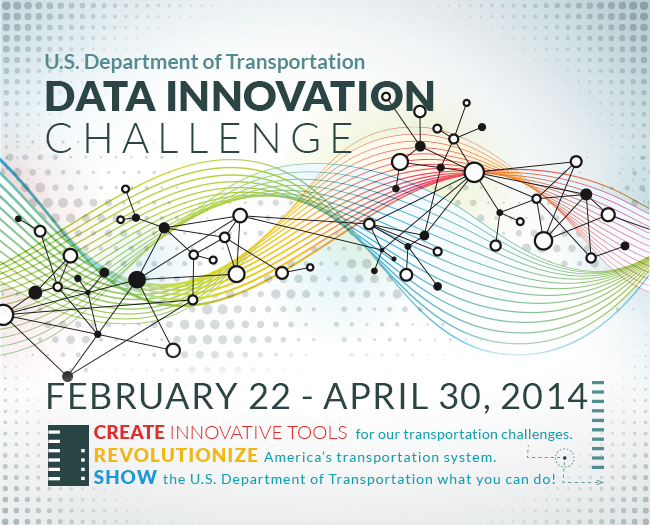 Graphic announcing the U.S. D.O.T. Data Innovation Challenge