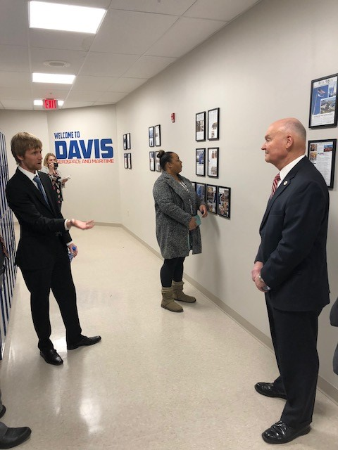 Admiral Mark H. Buzby meeting student and staff at Davis High School