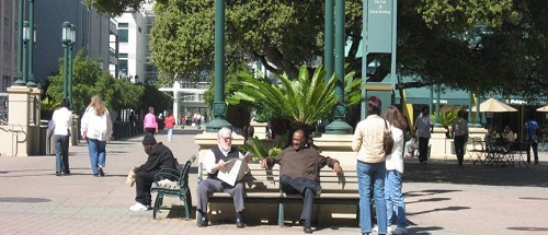 people of various age groups sitting in a park