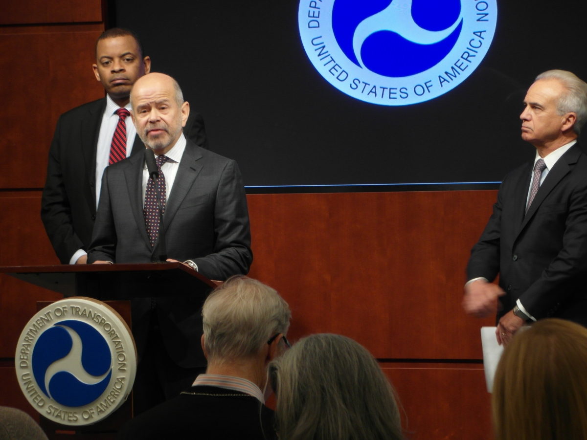 Photo of FAA Administrator Michael Huerta announcing SMS rule