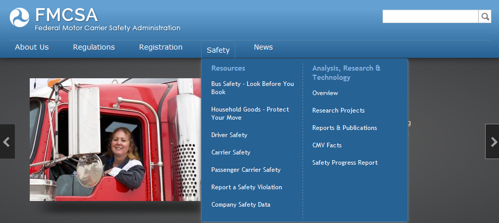 Screen capture of fmcsa-dot-d.o.t-dot-gov