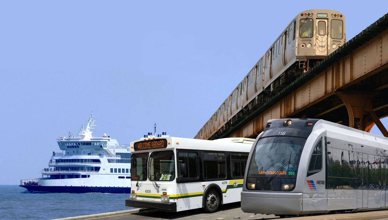 Photo of bus, ferry, metro car and street car, all modes of public transportation
