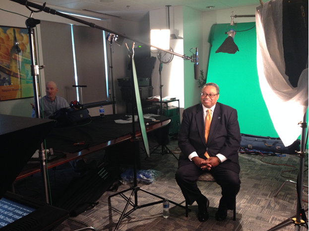 Photo of the FTA's Dorval Carter recording a civil rights training video