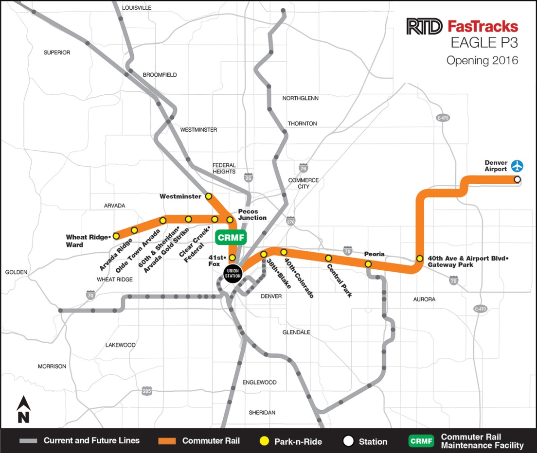 Map of Denver Regional Transportation District's FasTracks initiative