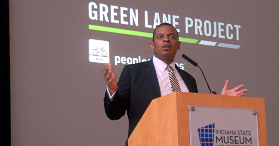 Photo of Secretary Foxx announcing Green Lanes Project in Indianapolis, courtesy Green Lanes Project