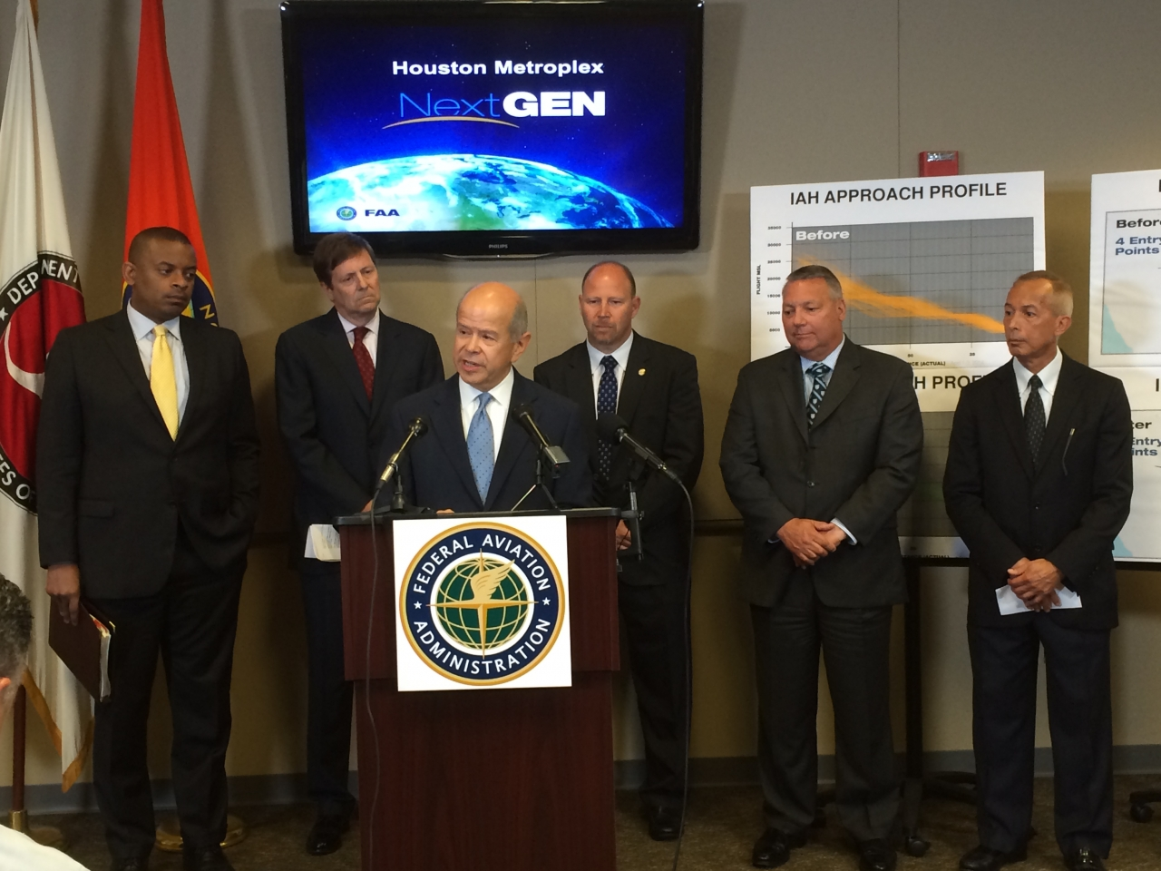 Photo of FAA Administrator Michael Huerta speaking at Houston Metroplex celebration