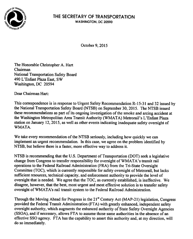 Letter from U.S. Transportation Secretary Anthony Foxx to NTSB ...