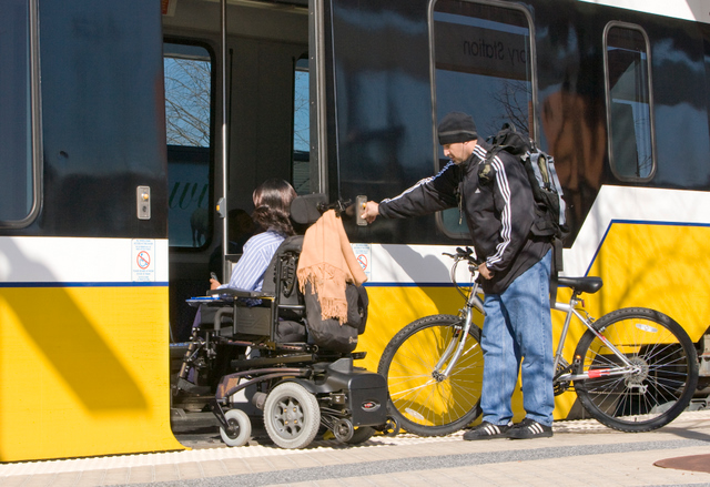 Photo of level boarding ADA access on transit vehicle