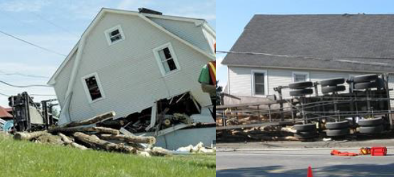 Photos of devastation after logging truck crashed into house