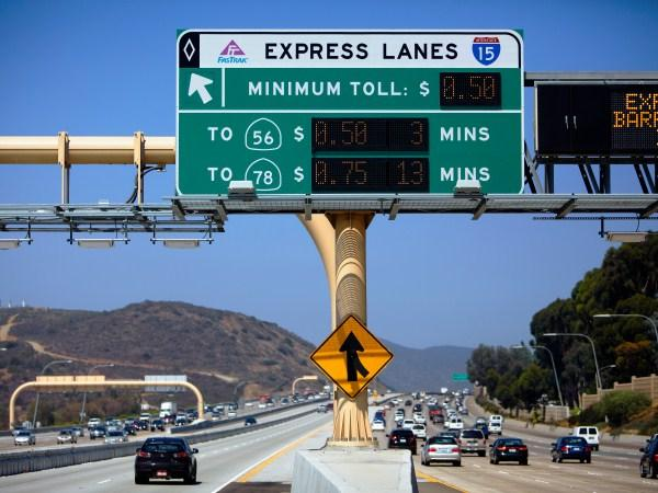 Photo of dynamic toll sign in a California H.O.T. lane