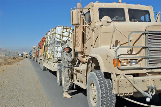 Military truck convoy