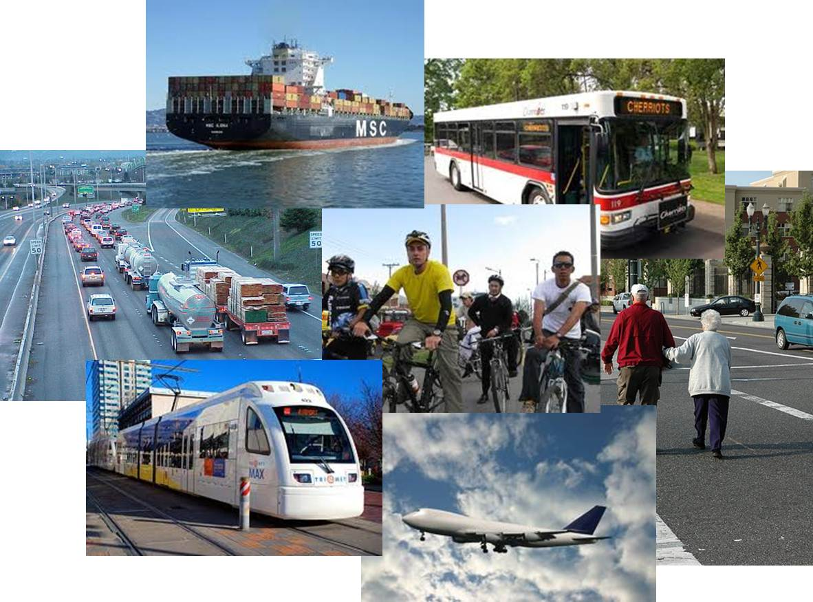 Photo collage of various modes of transportation