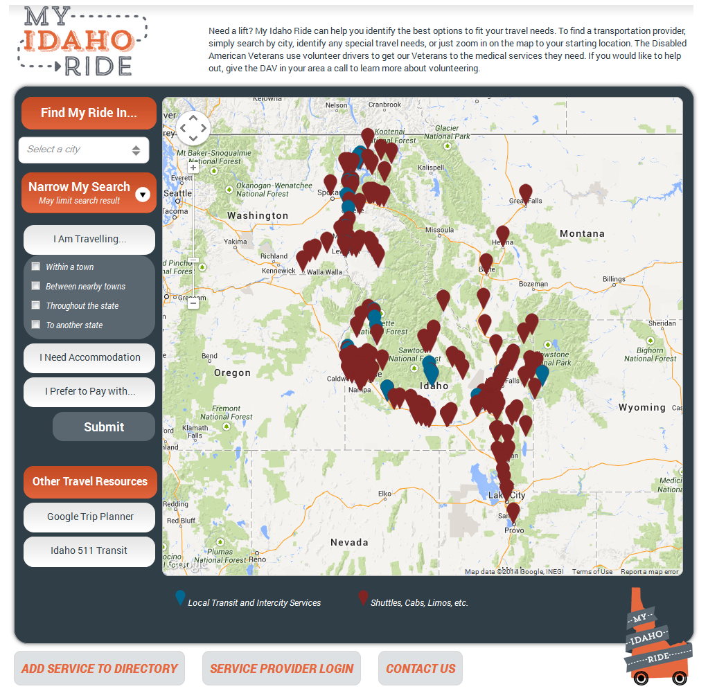 Screenshot of My Idaho Ride website