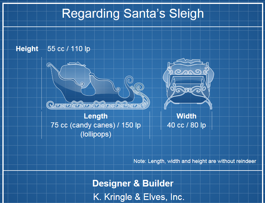 Santa's Sleigh Blue Print Graphic