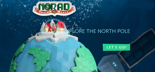 Screen capture of the NORAD Santa Tracker website