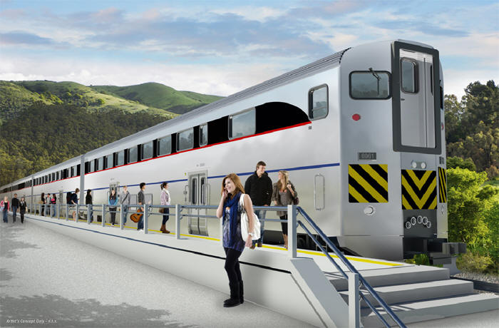 Artist's rendering of bi-level passenger rail car