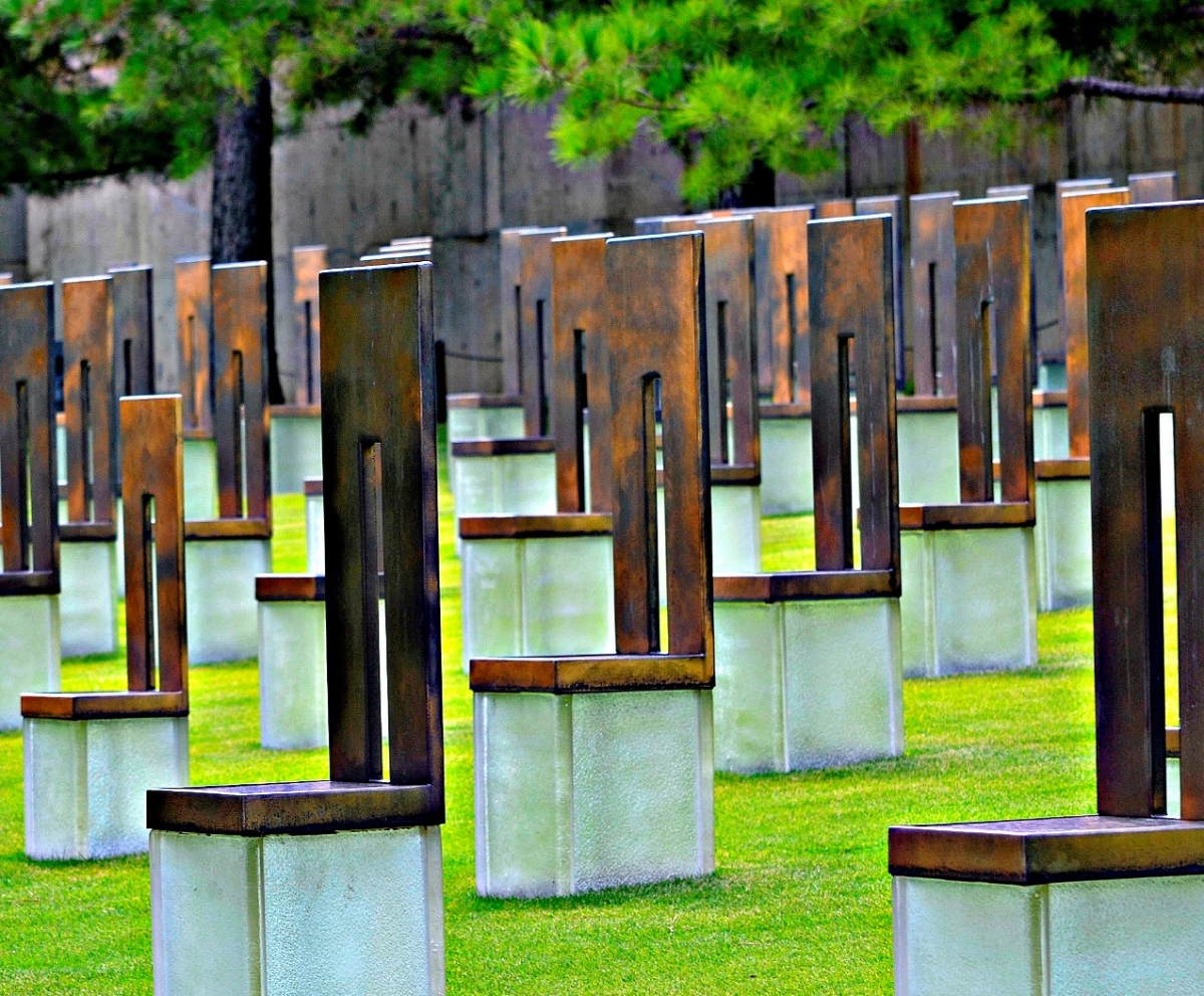 Field of empty chairs at OKC National Memorial