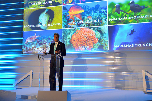 Picture of Secretary Kerry at Our Oceans conference