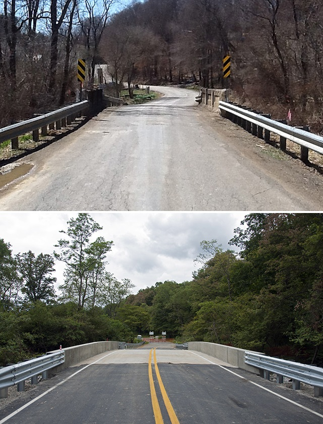 Photo of a Pennsylvania bridge before and after replacement