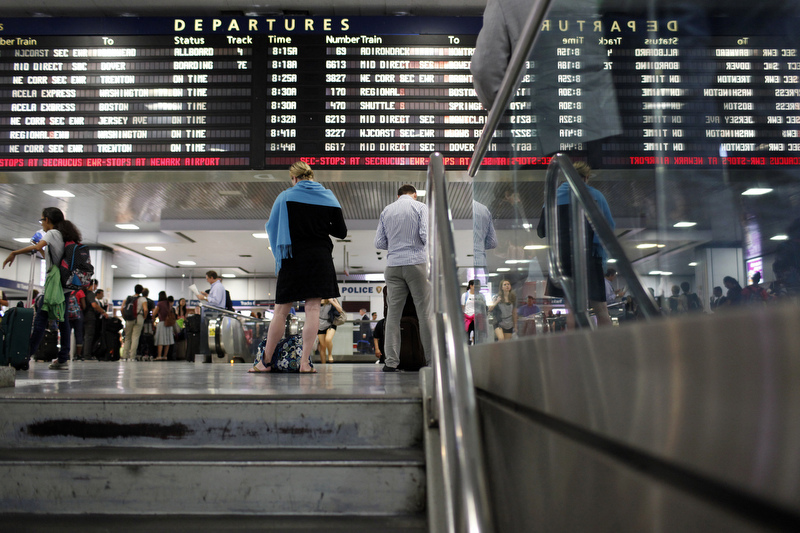 Photo of passengers at New York's Penn Station