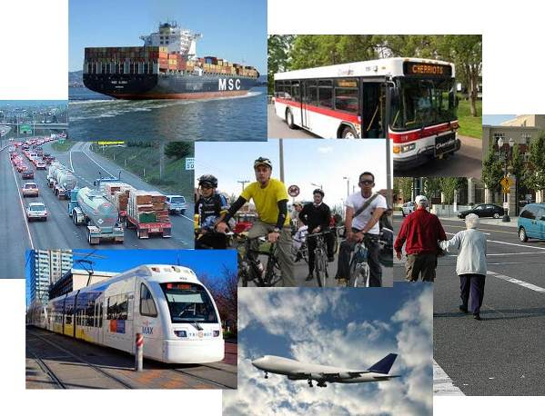 Photo collage of different modes of transportation
