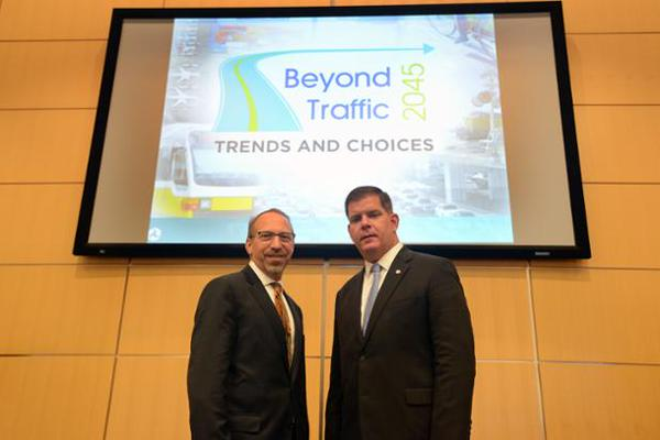 DOT Under Secretary for Policy Peter Rogoff with Boston Mayor Martin Walsh