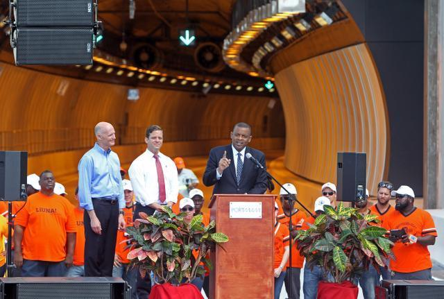 Photo of Secretary Foxx at opening of Port of Miami tunnels; courtesy Miami Herald