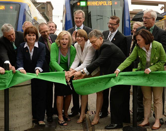 Photo of Green Line ribbon-cutting courtesy Pioneer Press, John Autey