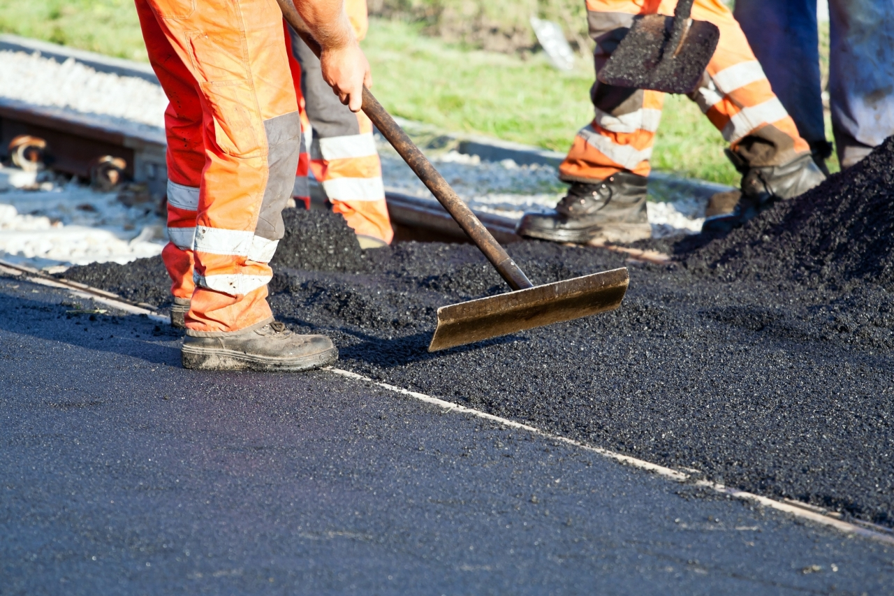 Close-up photo of pavement work
