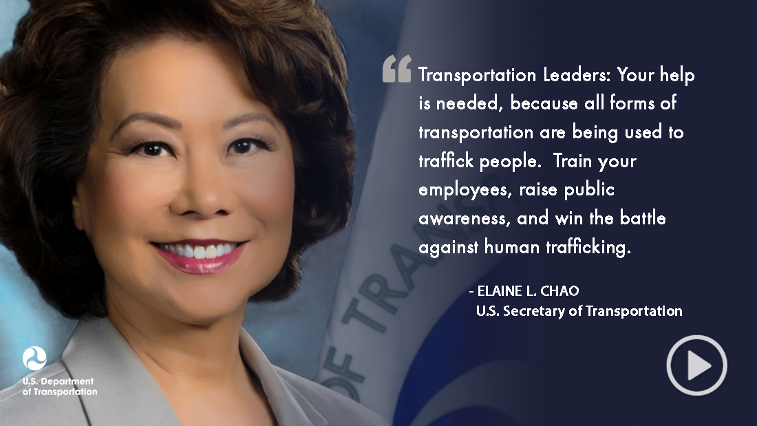 Secretary Chao Portrait and Human Trafficking Quote