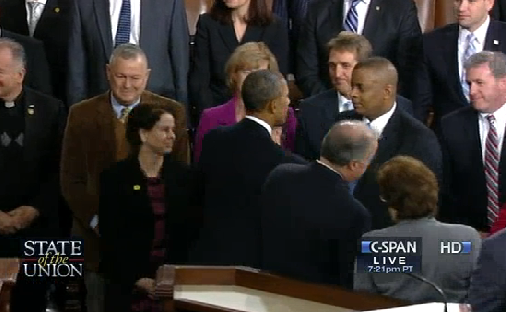 Video Capture of Secretary Foxx congratulating President Obama after the State of the Union address