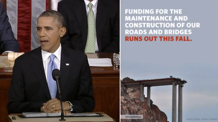 Screencap of President Obama's remarks with text indicating that highway funding expires this fall