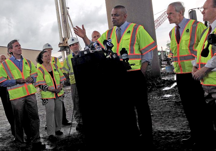 Photo of Secretary Foxx visiting bridge site in Delaware